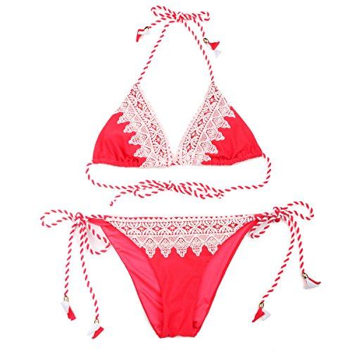 RELLECIGA traje de baño triángulo de dos piezas con encaje volk Rojo