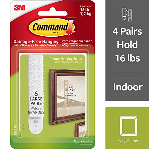 - Command Picture Hanging Strips, Indoor Use, Decorate Damage-Free, White, 4-packages (24 pairs total) (17206-6ES)