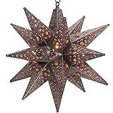 Moravian Star Light, Flower Pierced Tin, Amber Marbles, Bronze, 18''