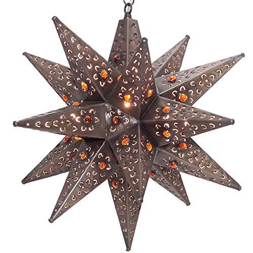 Moravian Star Light, Flower Pierced Tin, Amber Marbles, Bronze, 18'' by DuDa Home Decor