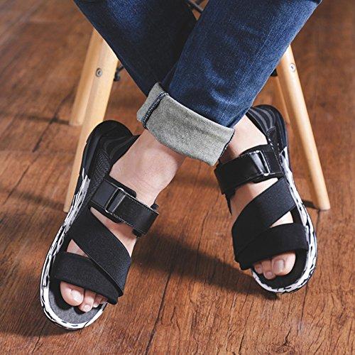 MAZHONG Zapatillas Zapatos romanos de los hombres sandalias deportivas marea de los hombres de verano zapatos de los hombres coreanos frescos zapatillas de playa ocasionales zapatos ( Color : Blanco , Negro