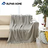 ALPHA HOME Woven Throw Blanket 50x60 inches Grey, Modern Decorative Couch Bed Sofa Throw Blanket Cozy and Soft