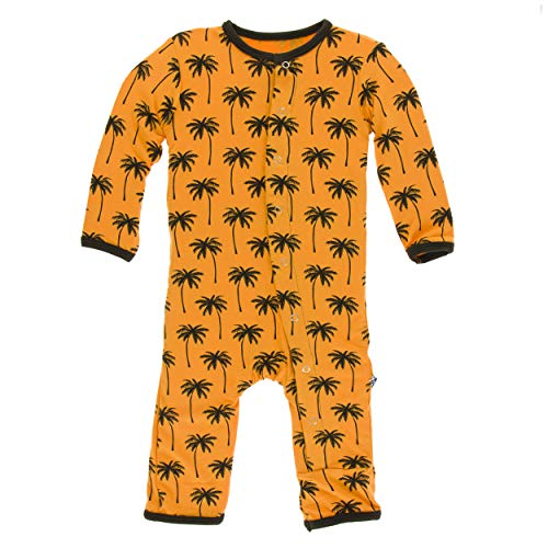 Kickee Pants Little Boys Print Coverall with Snaps - Apricot Palm Trees, 6-9 Months