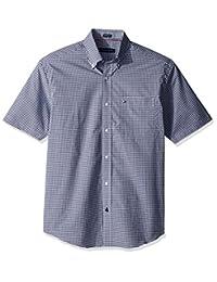 Tommy Hilfiger Mens Short Sleeve Reg Fit Gingham Buttondown Collar Dress Shirt