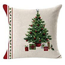 Hot Sale!Christmas Pillow Cover - Linen Square Decorative Cushion Case - Invisible Zipper (A)