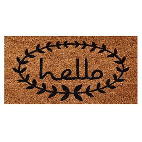 Calloway Mills 121813672 Calico Hello Doormat, 3' x 6', Natural/Black (Area Liquidation Rugs)