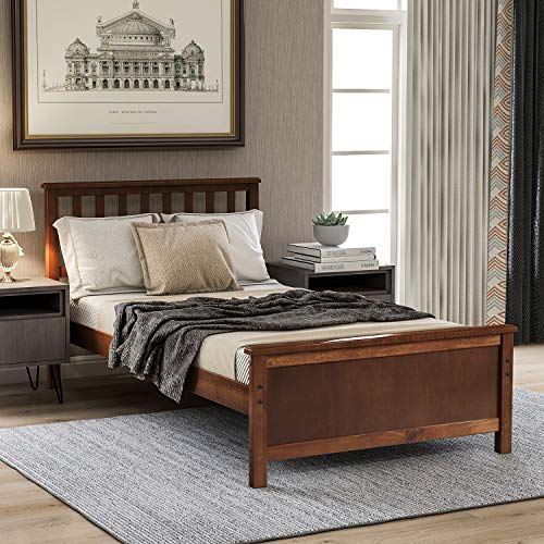 Twin Bed Frame, Wood Platform Bed with Headboard and Footboard, No Box Spring Needed, Walnut