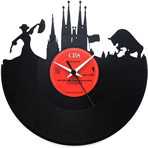 España Barcelona, regalo especial, reloj de vinilo negro, Vinyluse original, recuerdos de viaje: Amazon.es: Hogar