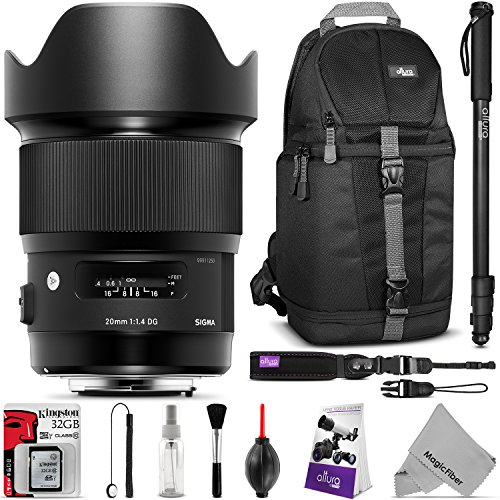 Price comparison product image Sigma 20mm f / 1.4 DG HSM Art Lens for Nikon F DSLR Cameras with Essential Photo and Travel Bundle