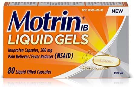 Motrin IB Liquid Gels, Ibuprofen 200mg, Fever, Muscle Aches, Headache & Back Pain Relief, 80 ct.