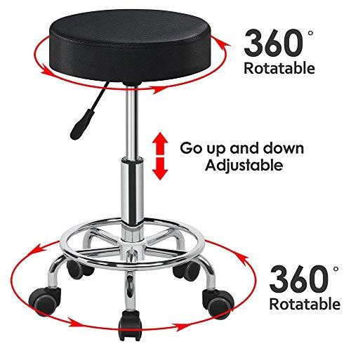 Yaheetech Hydraulic Rolling Swivel Salon Stool Chair with Wheels and Height Adjustable for Medical/Tattoo/Dental/Facial/Massage, Black