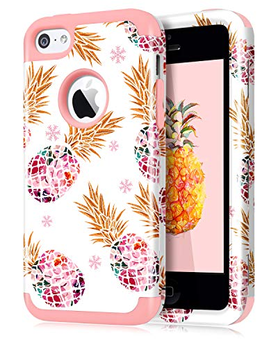 Dailylux iPhone 5C Case,5C Case,PC+Soft Silicone Three Layers Shockproof Armor Anti-Slip Protective Defensive Hard Back Cover for Apple iPhone 5C-Color Pineapple Rose Gold (Best Iphone 5c Cases)