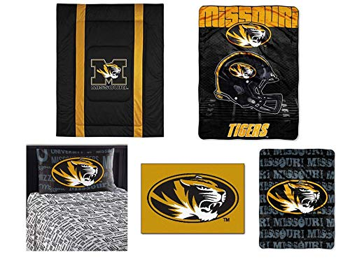Northwest NCAA Missouri Tigers Sidelines 7pc Ensemble: Includes Twin Comforter, Twin Flat Sheet, Twin Fitted Sheet, Pillowcase, Rug, Throw, and Blanket