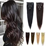 FUT Remy Grade 7a 15 Clips in 7 PCS Human Hair Pieces Extensions Straight Full Head 16inch 65g for Girl Lady Women Light Brown