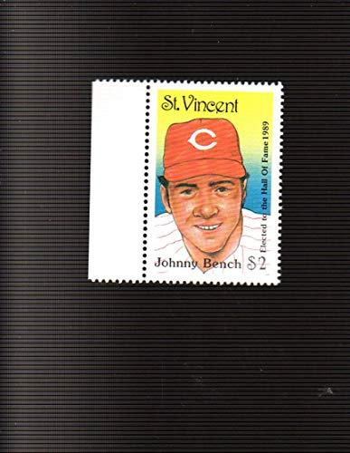 Johnny Bench CINCINNATI REDS 1992 St. Vincent $2 Hall of Fame Postage Stamp (194MP)