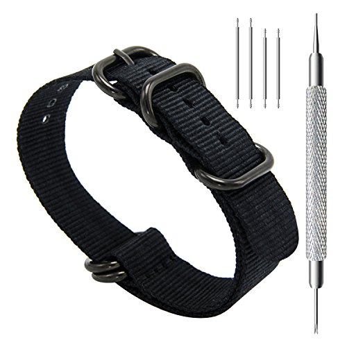 CIVO Heavy Duty G10 Zulu Military Watch Bands NATO Premium Ballistic Nylon Watch Strap 5 Black Rings with Stainless Steel Buckle 20mm 22mm 24mm (black, ()