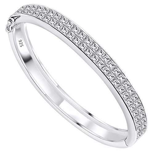 Sterling Manufacturers Glam Women's Sterling Silver .925 Solid Sterling Silver Bangle Bracelet with Channel-Set Princess-Cut Cubic Zirconia Stones, Platinum Plated, 7