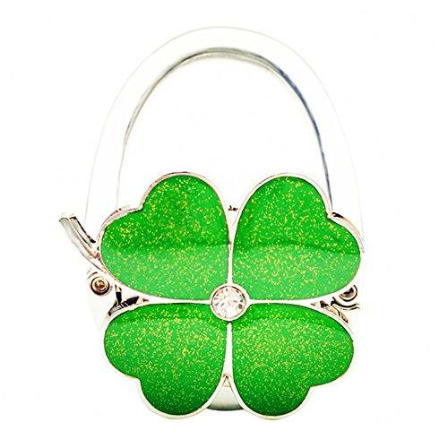 JewelBeauty Four Leaf Clover Design Foldable Handbag Hanger Folding Purse Table Hook Holder (Green)