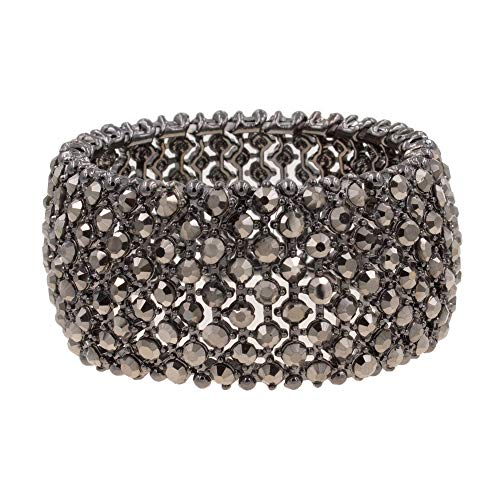 Lavencious Tennis Rhinestone Stretch Bracelets Adjustable Jewelry Party for Woman Bangle - Bracelet Faceted Stretch Black
