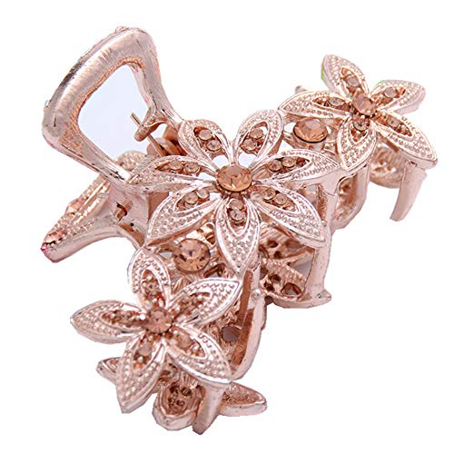 nt Jaw Clips Fashion Hollow Carving Flower Pattern Hair Claw Clips w/Rhinestones for Women Girls Hair Styling Accessories (Gold) ()