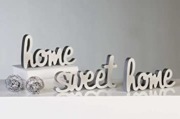 Wall Letters Wall Decor Wall Art Home Sweet Home Wood Silver