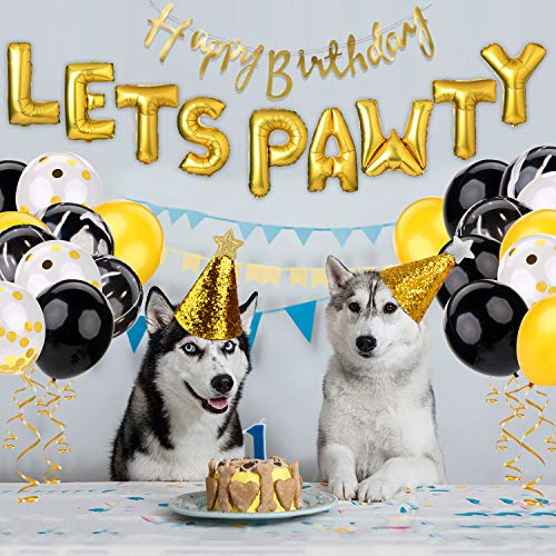 Dog Birthday Party Supplies,Pet Birthday Decorations Set, Lets Pawty Balloons,Happy Birthday Banner, Confetti Balloons for Pet Party Decoration Set ()
