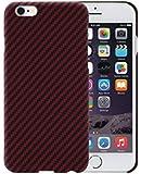 [PITAKA-正規品] iPhone 6 /6sケース アイフォン6 ケース スマホ 携帯カバー 防弾材料 アラミド製 超スリム 薄型 防水 防塵 耐衝撃 シンプル 高級感 強化ガラスフィルム付き (黒/赤)