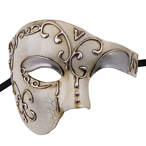 Half Face Men's Phantom of The Opera Vintage Design Venetian Carnival Masquerade Mask (Beige) for $<!--$8.99-->