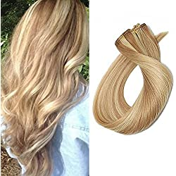 22 Inch Clip in Hair Extensions Human Hair 70grams 7 pcs Light Golden Brown and Bleach Blonde Highlights Straight Soft Clip on Remy Hair Extensions, Color #12/613