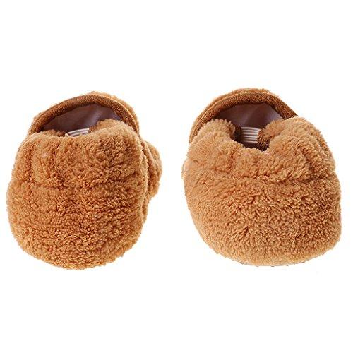 1 Par Zapatos De Niño Bebés Muchachos Botines Coral Polar Del Prewalker - Amarillo Café