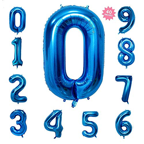 40 Inch Blue Jumbo Digital Number Balloons 0 Huge Giant Balloons Foil Mylar Balloons for Birthday Party,Wedding, Bridal Shower Engagement Photo Shoot, Anniversary