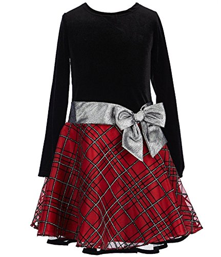 Bonnie Jean Stretch Velvet To Glitter Flock Drop Waist Holiday Girls Dress (10, Red)