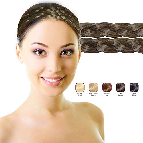 Hollywood Hair Braided Hair Headband with Two Braids | Natural looking hair bands | Blends in with your own hair (Dark (Braided Hair Headband)