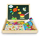 Innoo Tech Magnetic Jigsaw Puzzles Educational Wooden Toy Kids 3 4 5 Years Old | Double Sided Magnetic Drawing Board 3 Color Pens | Human&Animal Theme | 70 Pieces