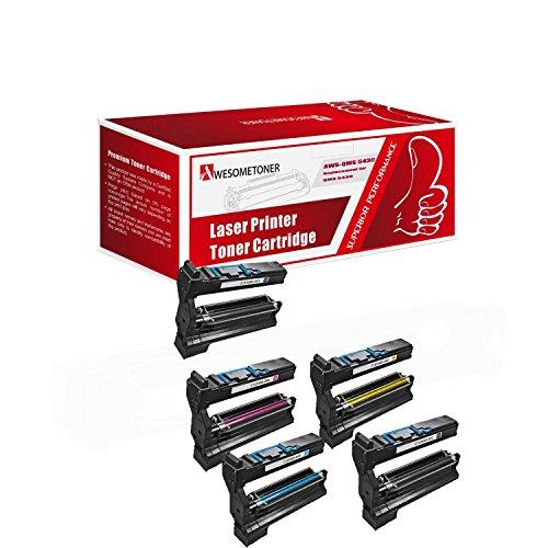 Magicolor 5440dl Color - Awesometoner Compatible 5 Pack Toner Unit For QMS 5430 1Set + 1BK, Konica Minolta QMS 5430 5450 High Yield Black Color 6000 Pages