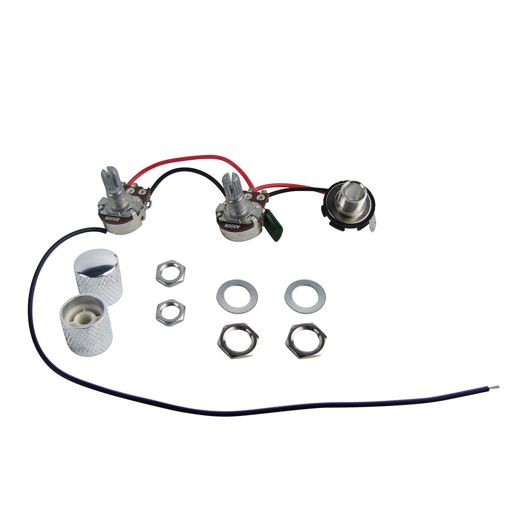 FLEOR Prewired Wiring Harness 1 Volume 1 Tone 1 Jack w/Knurled Knobs Chrome for PB Bass Style Replacement
