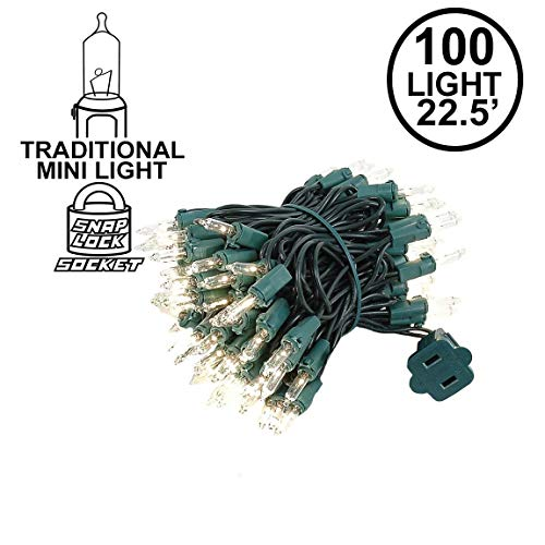 Novelty Lights 100 Light Clear Christmas Mini Light Set, Green Wire, 22' Long