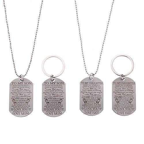 sameno Retro Art Hip-hop Pendant Necklace Chain Trend Fashion Jewelry Men Birthday Gift (A(Necklace + Keychain))
