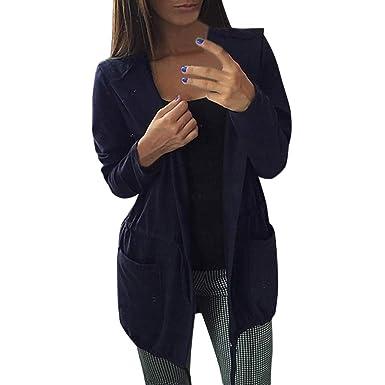 Sudadera Larga Mujer, LANSKIRT Mujeres Casual Sólido Bolsillos Corbata de Cintura Sudadera con Capucha Manga Larga Cardigan Outwear: Amazon.es: Ropa y ...