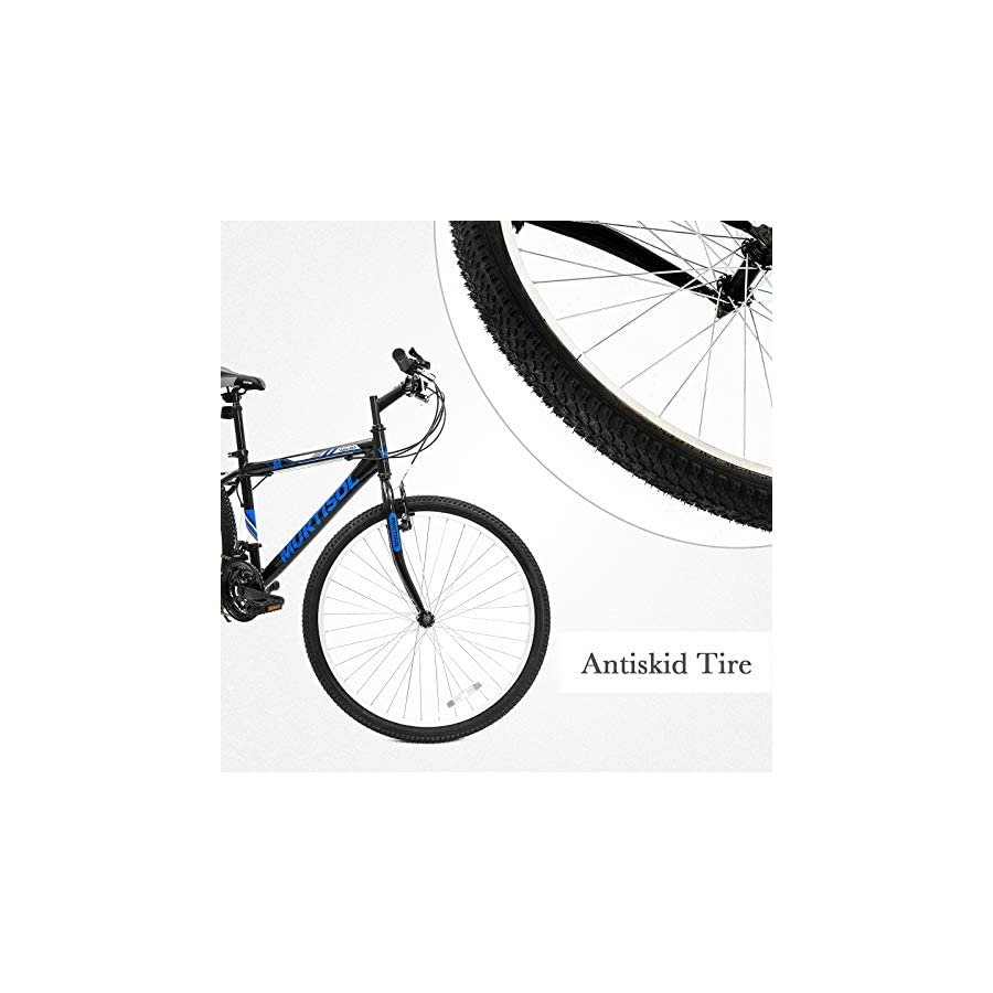 Murtisol Commuter Bike 26'' Hybrid Bicycle with 18 Speed Derailleur, Solid Frame,Adjustable Seat in 3 Colors