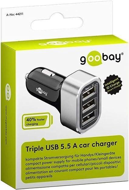 Goobay 44211 Triple Usb Autoladegerät 5 5a Für 12 24v Elektronik