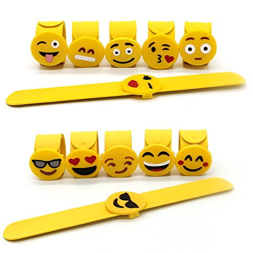 Adecco LLC Mixed Emoji Wristband Party Bracelets, Emoji Face Expressions Slap Bracelets Wrist Strap for Birthday Party Supplies Favors Prize Rewards, 12 Pack ()