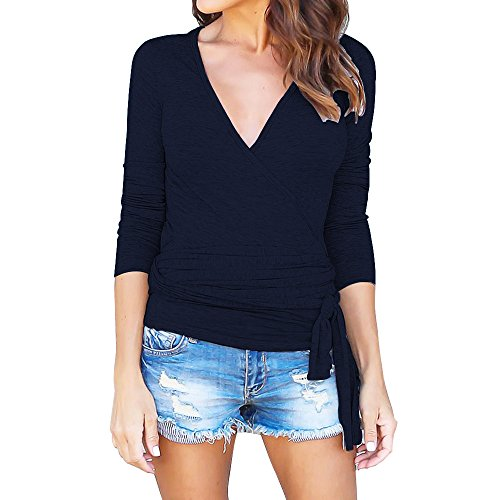 Womens Long Sleeve V-neck Wrap Front Belted T-Shirt Blouse Tops Navy Blue Belted Wrap Top