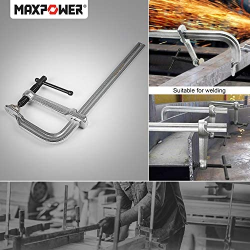 MAXPOWER Heavy Duty F Clamp 12-Inch x 4-3/4-Inch Throat (300 x 120mm Throat)【2 PACK】