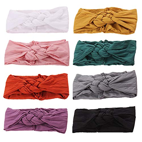 inSowni 8pcs Solid Celtic Knot Stretchy Nylon Turban Headbands Headwraps Hair Bands Accssories for Baby Girls Toddlers Newborns Infants Kids (Baby Girl With Black Hair And Blue Eyes)