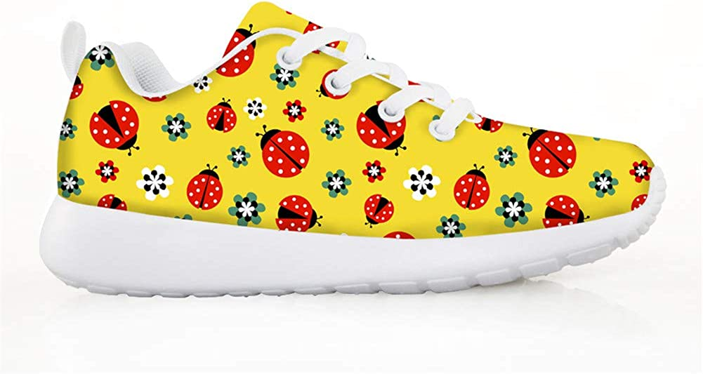 3 Options HMML Kids Sneakers Ultra Breathable Mesh Sport Running Shoes Ladybird Cute Insects Print Casual Easy Walk Shoe for Girls Boys Green//Yellow