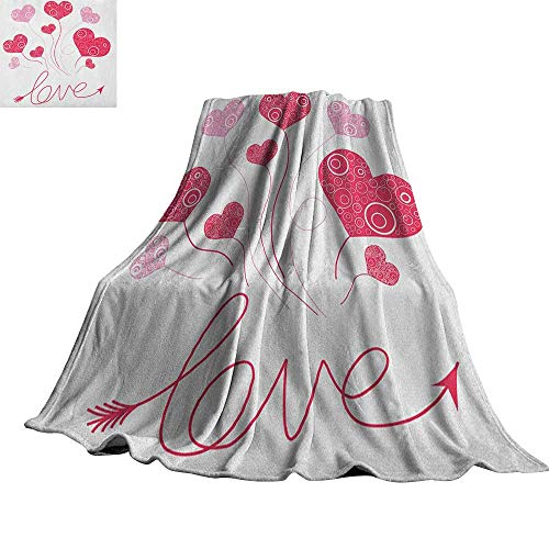 Love,Bed Blankets Valentines Heart Shaped Balloons Party Entertainment Happiness Theme Retro Custom Blankets 90