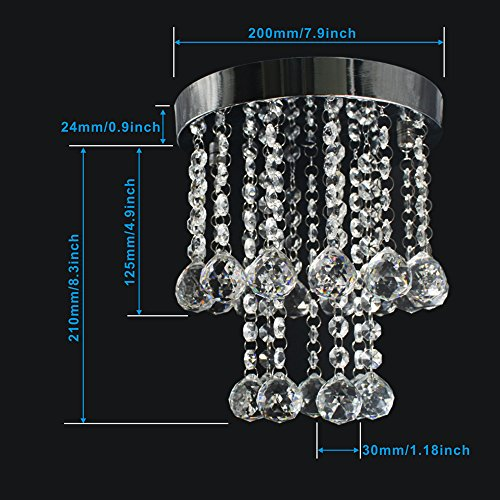ZEEFO Crystal Chandeliers Light, Mini Style Modern Décor Flush Mount Fixture With Crystal Ceiling Lamp For Hallway, Bar, Kitchen, Dining Room, Kids Room (8 inch) by ZEEFO (Image #5)