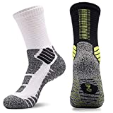 Mens Cushion Basketball Crew Socks,Athletic Compression Socks 8-12(Pack of 2) (white/dark grey+black/green)