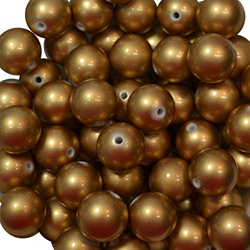 20mm Bulk package 50 Matte Gold Faux Pearl Solid Acrylic Chunky Bubblegum Beads Loose Gumball Beads - Pearl Mm 20